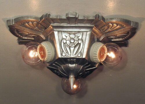 "STELLAR! Restored Antique 1930 LINCOLN ""MARIETTA"" 3 Light Fixture Art Deco Pair?"