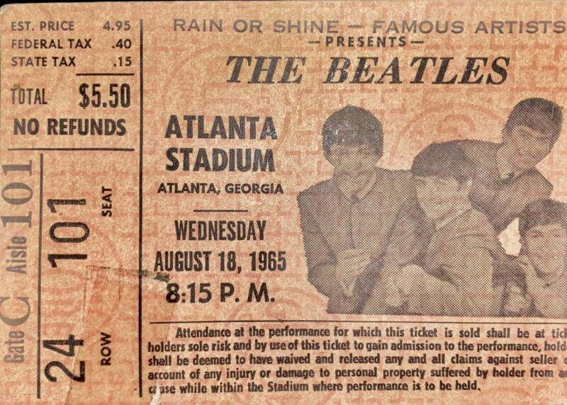 Original BEATLES Ticket for August 18, 1965 Atlanta Stadium Concert! (Stub- VG)