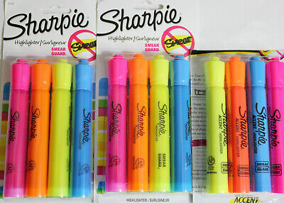 Sharpie Highlighters 4 Ct Yellow Orange Blue Pink 3 Pack