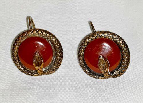 Vintage Bakelite Cherry / Amber Toned Snake Earrings ~ Screwback ~ Tested