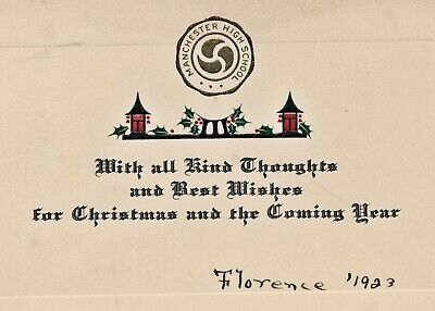 1923 Manchester NH High School Christmas Card & Envelope ()