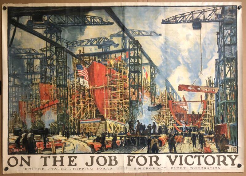 Original Vintage Poster ON THE JOB FOR VICTORY World War I USA WWI 55 x 39 HUGE!