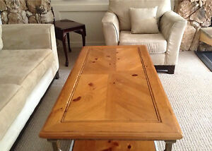 Chair, love seat and coffee table