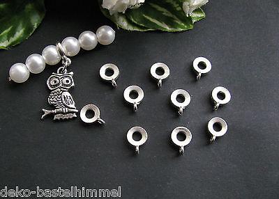 10 Metallperlen Verbinder mit Schlaufe, Stärke 2 mm, ín silber, Perlen basteln