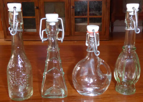 Lot of 4 Vintage Miniature Resealable Bottles