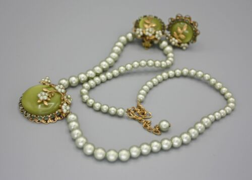 Vintage Green Faux Pearl and Lucite Haskell Style Necklace Earring Set