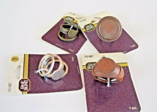 Assorted Plaid Brand Ring Blanks Ring Bling Lot of 4 Silver Bronze Adjustable