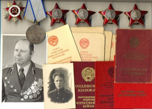 Soviet Banner Medal 4 Orders of the Red Star with documents combat  (1716)