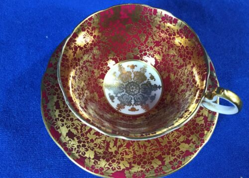 AYNSLEY RED ? MAROON ? GOLD FLOWERS LEAVES ON RED C960 CUP SAUCER