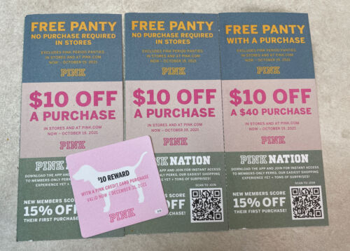 Lot Of Victoria s Secret PINK Coupons Freee Panty, 10 Off. CODES ONLY - $32.00