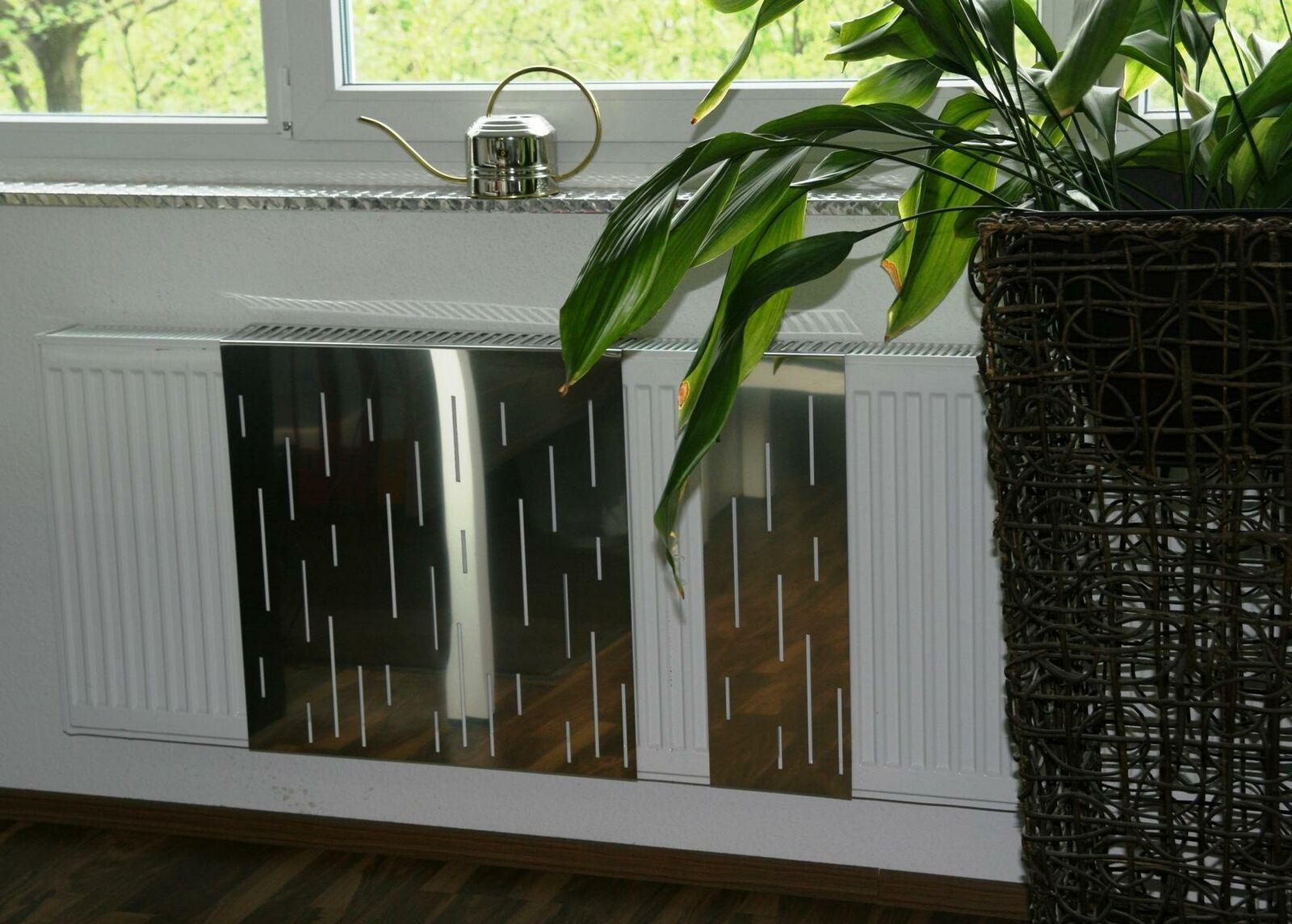 Heizkörper-Verkleidung Edelstahl, 62 x 20 cm Design: Rain, glänzend