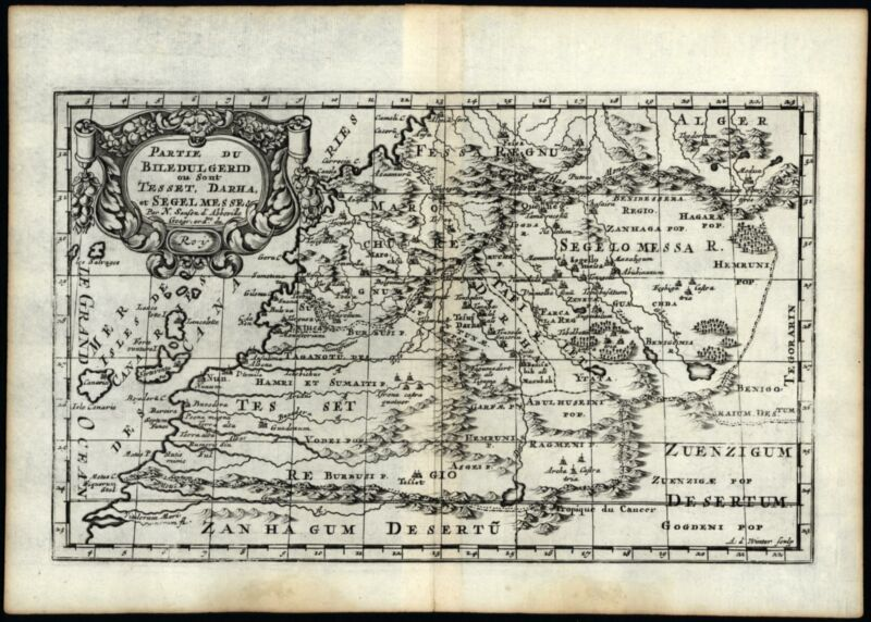 Morocco Western Africa 1699 engraved map