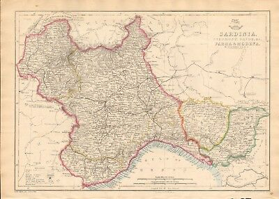 1863  LARGE ANTIQUE MAP - DISPATCH ATLAS- SARDINIA,PARMA,MODENA, PIEDMONT,SAVOY
