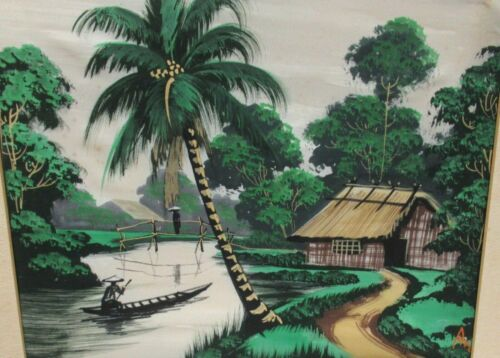 A.N. OLD VIETNAM FISHERMAN WATERCOLOR LANDSCAPE PAINTING SIGNED #3