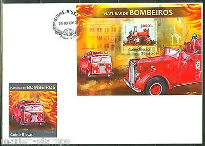 GUINEA BISSAU  2013 FIRE ENGINES  SOUVENIR SHEET FIRST DAY COVER