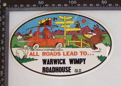 VINTAGE WARWICK WIMPY ROADHOUSE QLD AUSTRALIA SOUVENIR LUGGAGE TOURIST STICKER