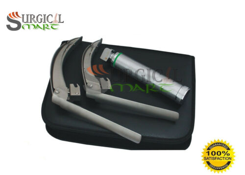 McCoy Flexi-Tip Fiberoptic LED Laryngoscope Set Blades #3 & #4 Medium Handle