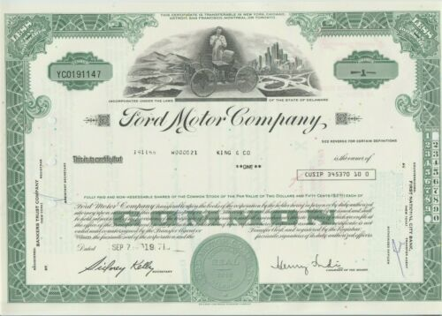 1971 Ford Motor Company Stock Certificate