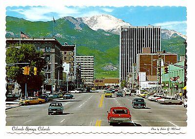 Colorado Springs Postcard Pikes Peak Avenue Stone Center Antlers Plaza Hotel (Summit Plaza)