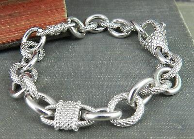 Judith Ripka Sterling Chain Link Charm Bracelet