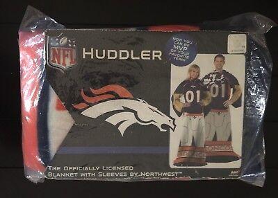 """NFL Huddler Denver Broncos Fleece Blanket with Sleeves 48 x 71"""" Official Uniform"""