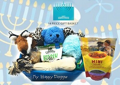 CHANUKAH DOG Gift Basket DOG Toys and treats with Bucket Indicate Boy or Girl