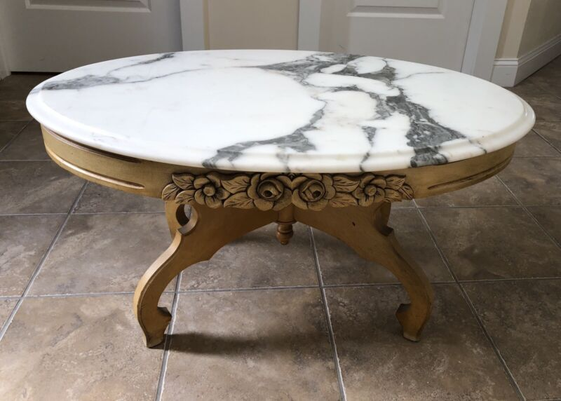 Victorian Genuine Marble Top Coffee Table Carved Solid Wood