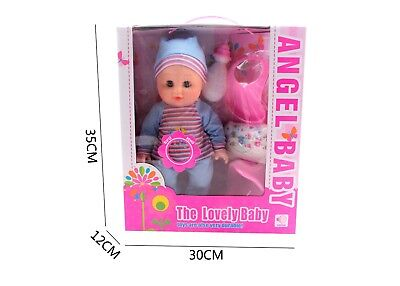 Baby Doll Boy and Girl Potty Doll with Bottle, Nappies, Bib Newborn Doll Sounds