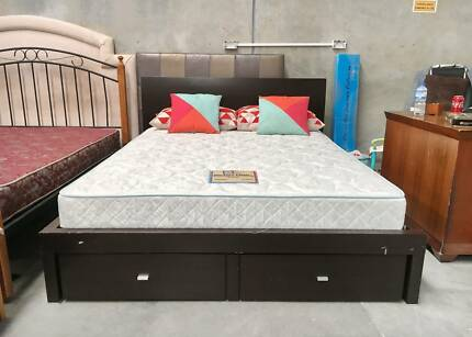 TODAY DELIVERY LUXURY Wooden King bed & mattress BUILT IN DRAWERS