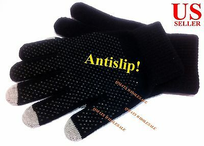 Antislip Mens Unisex Touch Screen Winter Gloves Warm Texting Smart phone Black