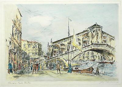 PETER GÖTZ PALLMANN - Venedig - Rialtobrücke - aquarellierte Radierung 1950