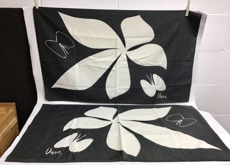2 1970's VERA NEUMANN MOD Butterfly & Flower Queen Sz PILLOWCASES BLACK & WHITE