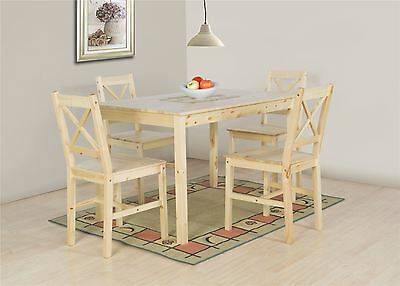 Lucy Natural Pine Effect Wooden Dining Table and 4 High Back Chair Set