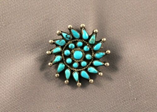 Old Pawn Sterling Silver and Turquoise Pin