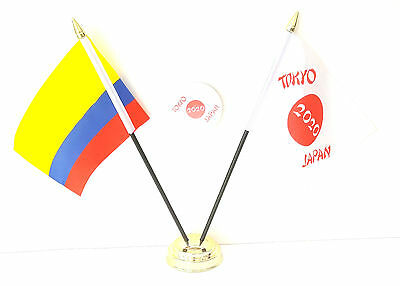 Colombia & Tokyo Japan Olympics 2020 Desk Flags & 59mm BadgeSet