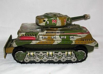 Nomura  Mx Tank  Tin Litho Battery Operated Toy   Very Nice Working Condition