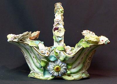 19ème joli grand panier corbeille en porcelaine saxe fleurie 28cm1050g barbotine