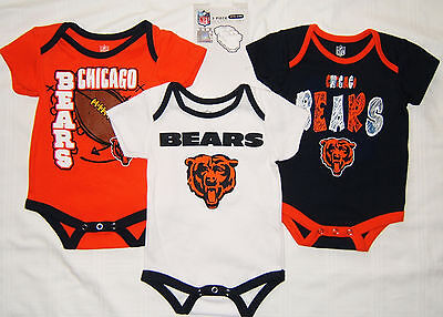 Chicago Bears Nfl 3 Pack Bodysuits Baby Boy 3 6  12 18 Months Nwt  3 6