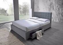 SPECIAL new UPHOLSTERED (4 drawer) bed frame, Grey, PAYMENT PLANS Bundall Gold Coast City Preview