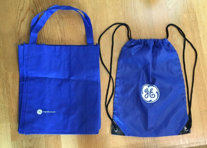 (2)GE General Electric Blue Bags,Drawstring Bag & Grocery Shopping Bag,Brand New
