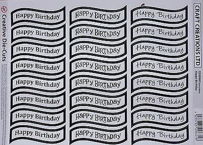 24 HAPPY BIRTHDAY die cut banners (#038G) - white/black