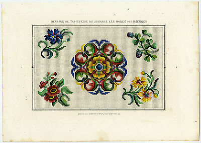 Antique Print-FASHION-EMBROIDERY-Anonymous-ca. 1840