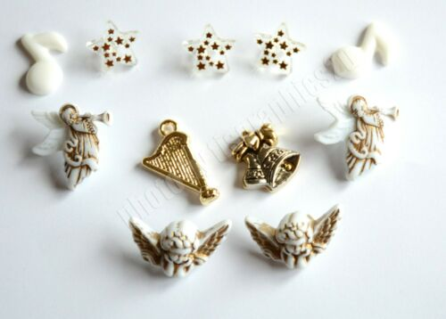 Angels Song Holiday Button Embellishments / Cherb Angels ~ Harp ~ Notes ~ Bells
