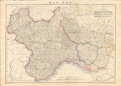 1863  LARGE ANTIQUE MAP - DISPATCH ATLAS- WAR MAP, SARDINIA,PARMA,MODENA