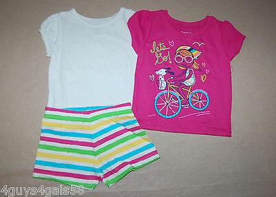 Toddler Girls TWO SUMMER TOPS Striped Shorts 12 Mo SPARKLES Bike PINK Dog