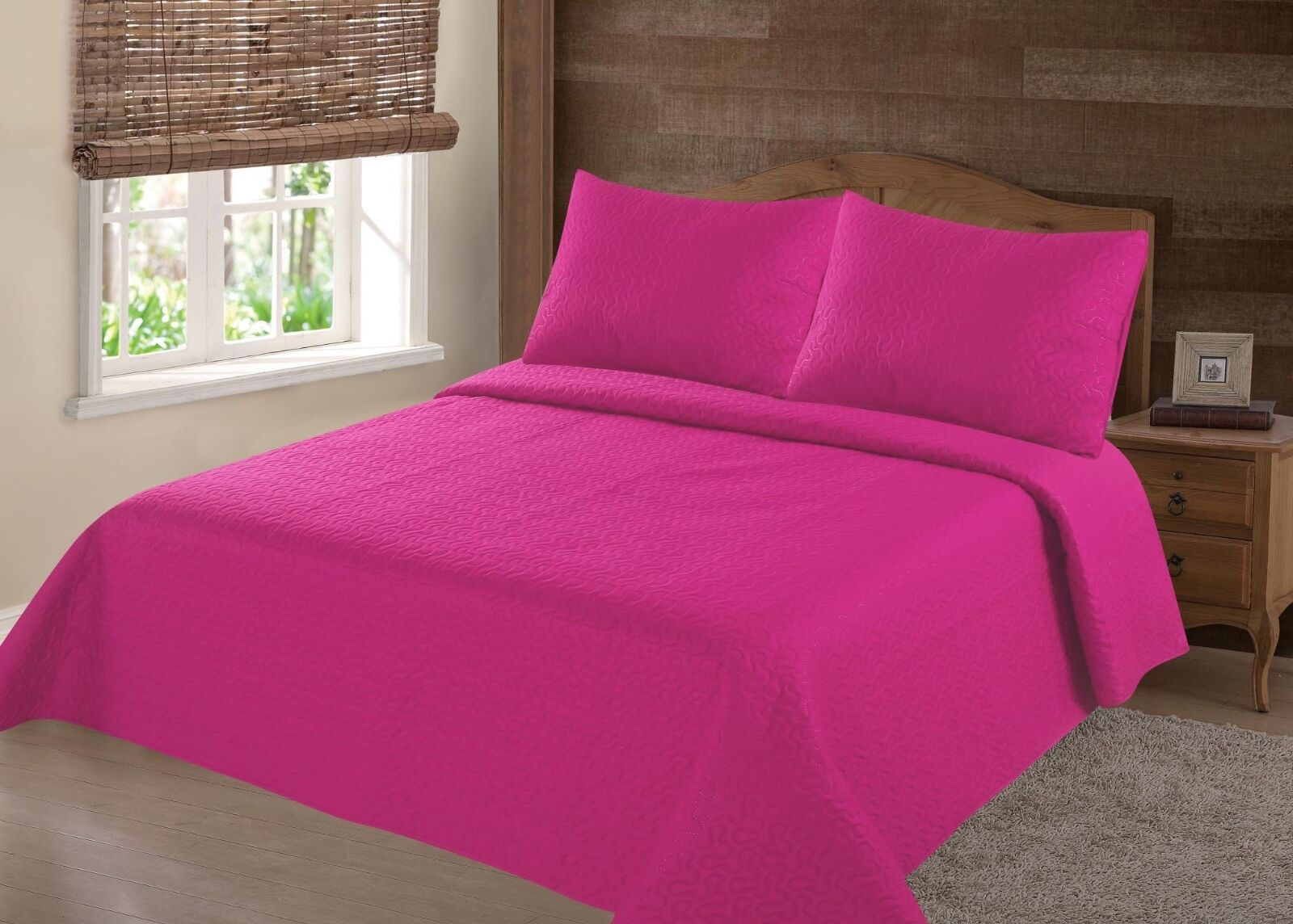 2//3PC HOT PINK NENA BEDSPREAD QUILT SET COVERLET STIPPLING STITCHE IN 4 SIZES