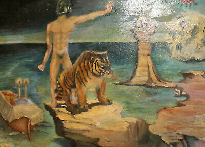 Vintage surrealist oil painting nude man portrait tiger