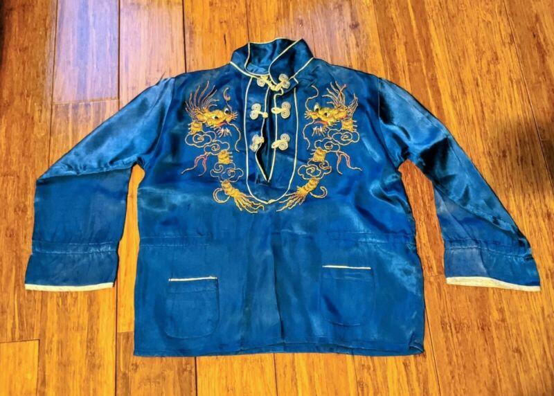 Vintage Chinese Embroidered Blue Silk Pajamas