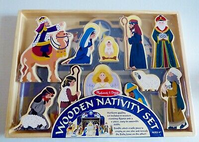 NEW SEALED MELISSA & DOUG WOODEN NATIVITY SET 11 FIGURES & STABLE SOME ASSEMBLY