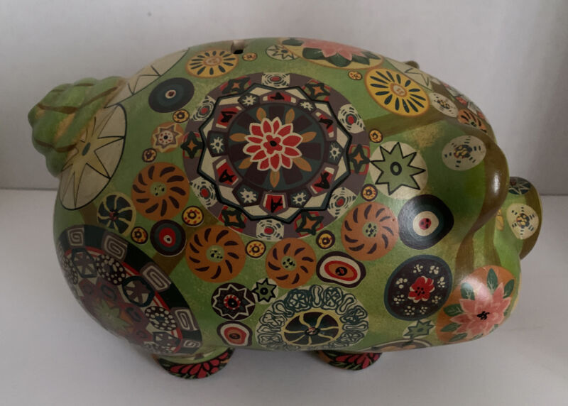Psychedelic Retro Hippy Green Piggy Bank